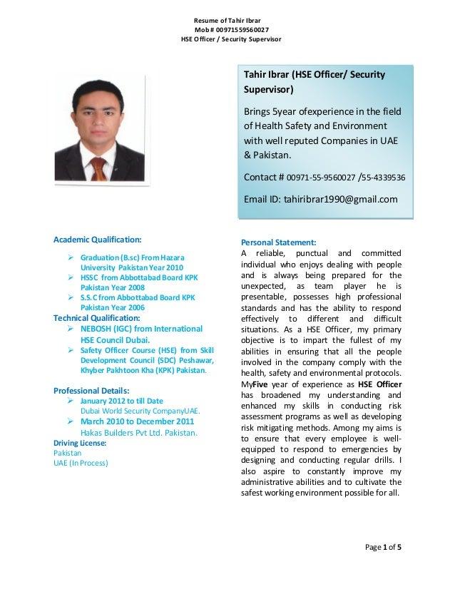 Resume Of Tahir HSE