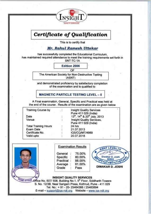 NDT Level II Certificate in MPT-Rahul uttekar