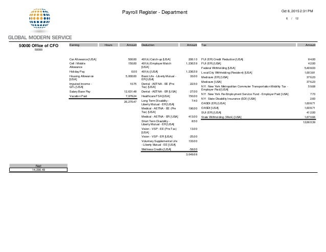 GMS Payroll Register PDF Department