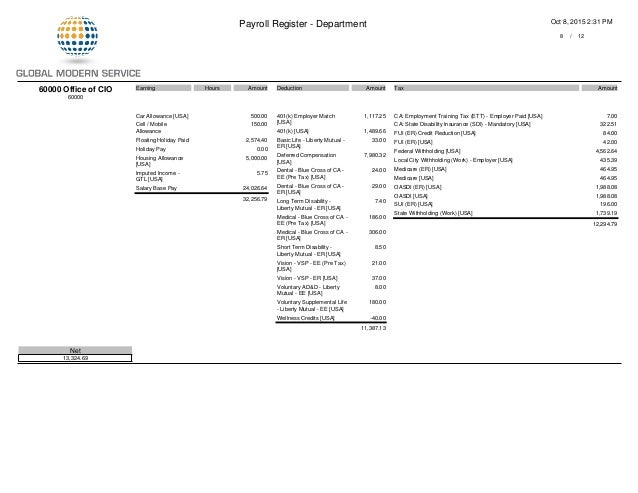 GMS Payroll Register PDF Department