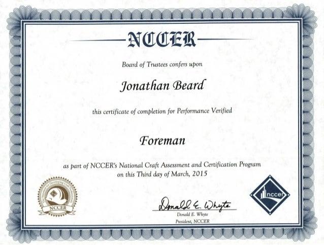 nccer certification foreman certificate pv craft national slideshare upcoming kv