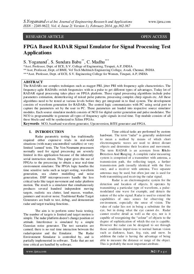 S.Yoganand et al Int. Journal of Engineering Research and Applications  www.ijera.com  ISSN : 2248-9622, Vol. 4, Issue 2( ...
