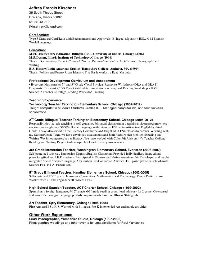 bilingual teacher resumes