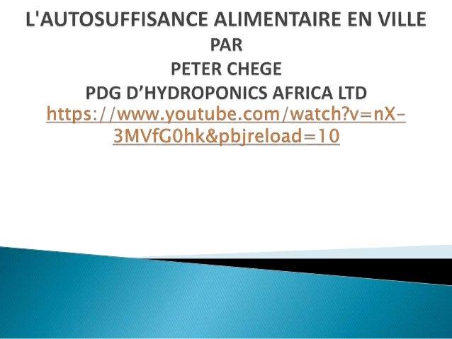 """Briefing de Bruxelles 50: Peter Chege """"Nouvelles opportunités en hydroponie au Kenya et leçons apprises"""""""
