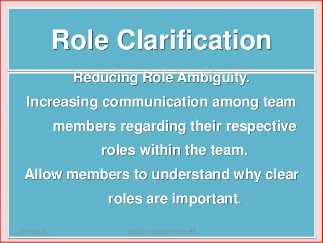 hr role ambiguity Role conflict and ambiguity: critical variables in the mis user-designer  are we  burning out valuable human resources, proceedings of the 1998 acm.