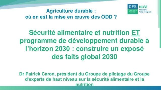 Agriculture durable : où en est la mise en œuvre des ODD ? Sécurité alimentaire et nutrition ET programme de développement...