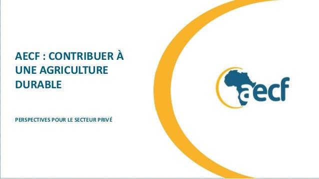AECF : CONTRIBUER À UNE AGRICULTURE DURABLE PERSPECTIVES POUR LE SECTEUR PRIVÉ