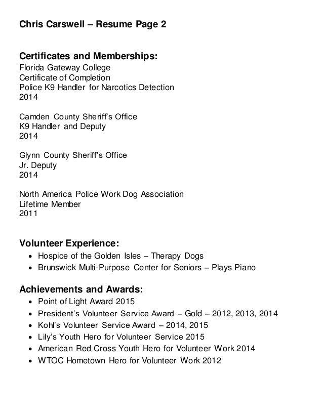 chris carswell 2015 resume