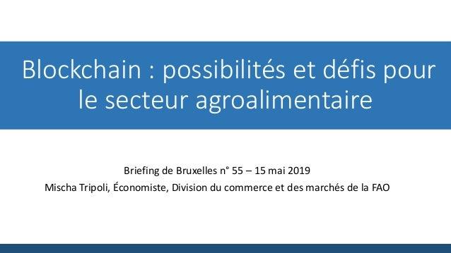 Blockchain : possibilités et défis pour le secteur agroalimentaire Briefing de Bruxelles n° 55 – 15 mai 2019 Mischa Tripol...