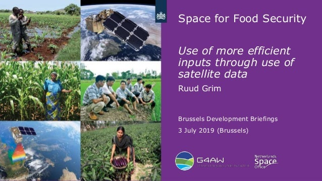 1 Space for Food Security Use of more efficient inputs through use of satellite data Ruud Grim Brussels Development Briefi...