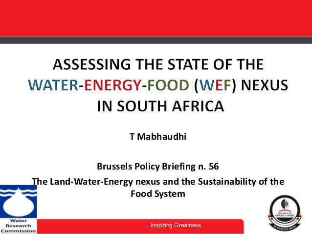…Inspiring Greatness T Mabhaudhi Brussels Policy Briefing n. 56 The Land-Water-Energy nexus and the Sustainability of the ...