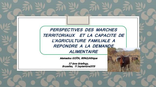 Mamadou GOÏTA, IRPAD/Afrique 57 ème Briefings, Bruxelles, 11 Septembre2019 PERSPECTIVES DES MARCHES TERRITORIAUX ET LA CAP...