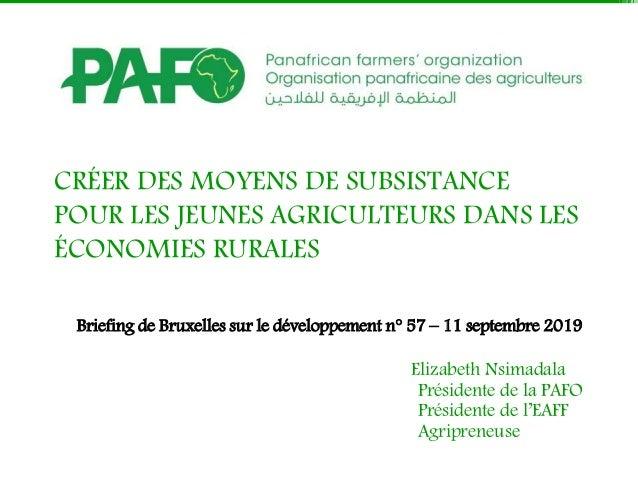 CRÉER DES MOYENS DE SUBSISTANCE POUR LES JEUNES AGRICULTEURS DANS LES ÉCONOMIES RURALES Briefing de Bruxelles sur le dével...