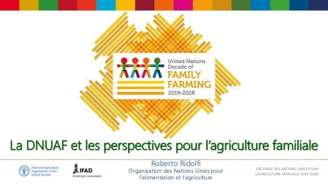 DÉCENNIE DES NATIONS UNIES POUR L'AGRICULTURE FAMILIALE 2019-2028 La DNUAF et les perspectives pour l'agriculture familial...
