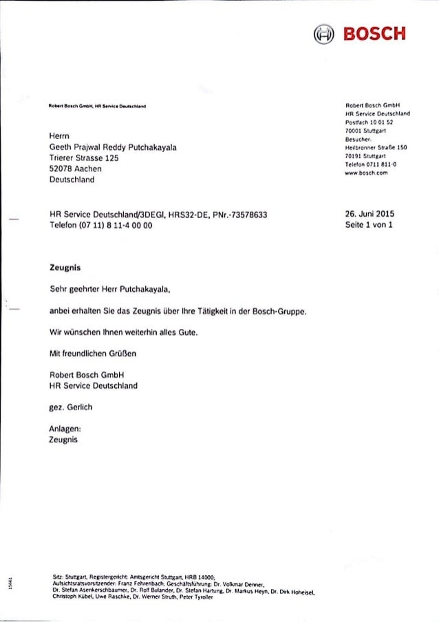 bosch internship certificate