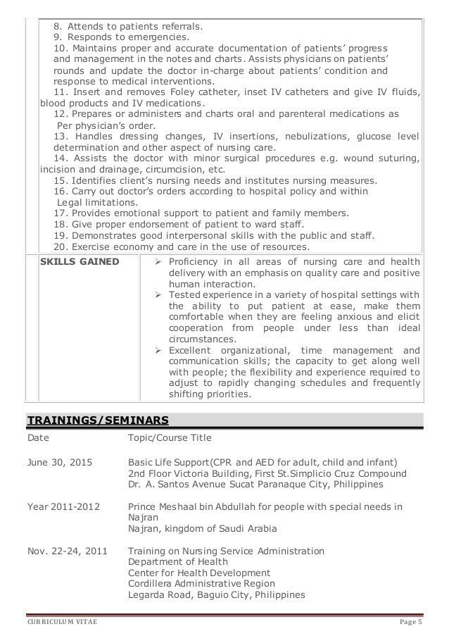 Application letter for training in nursing