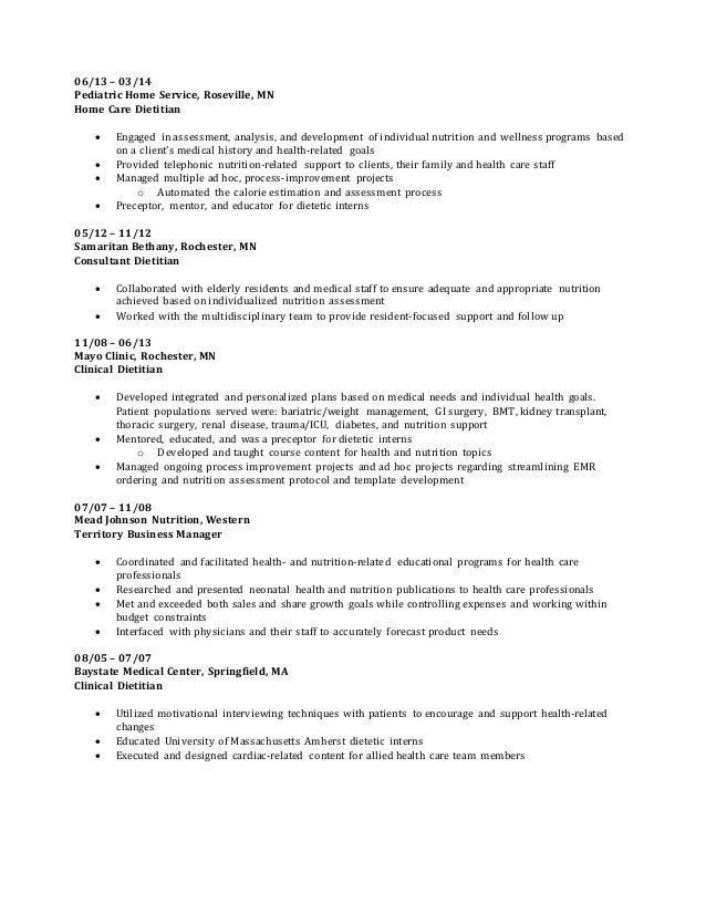 linkedin resume - Clinical Dietician Cover Letter