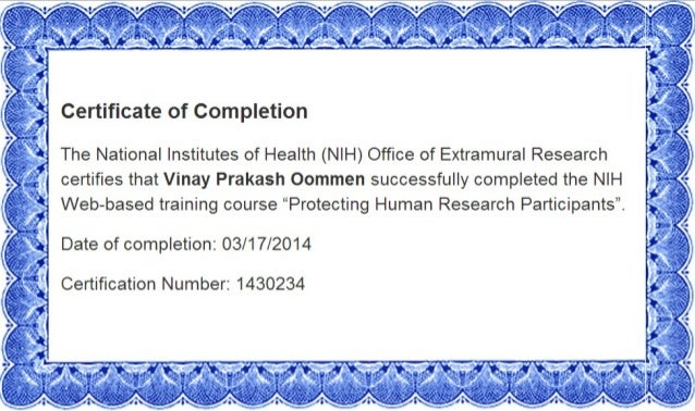certificate nih completion