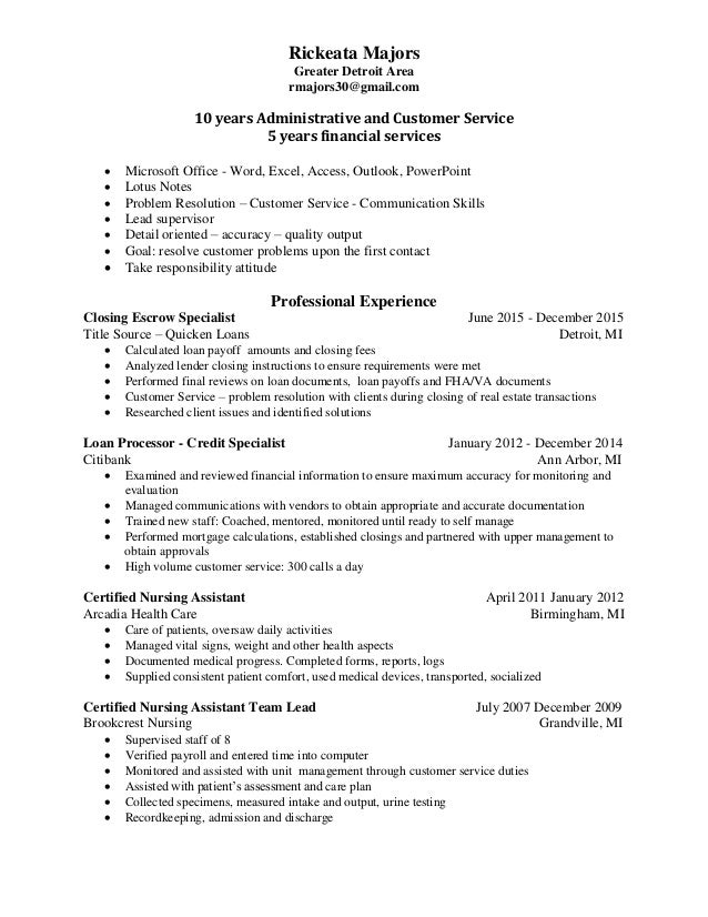 resume of rickeata majors linkedin pdf