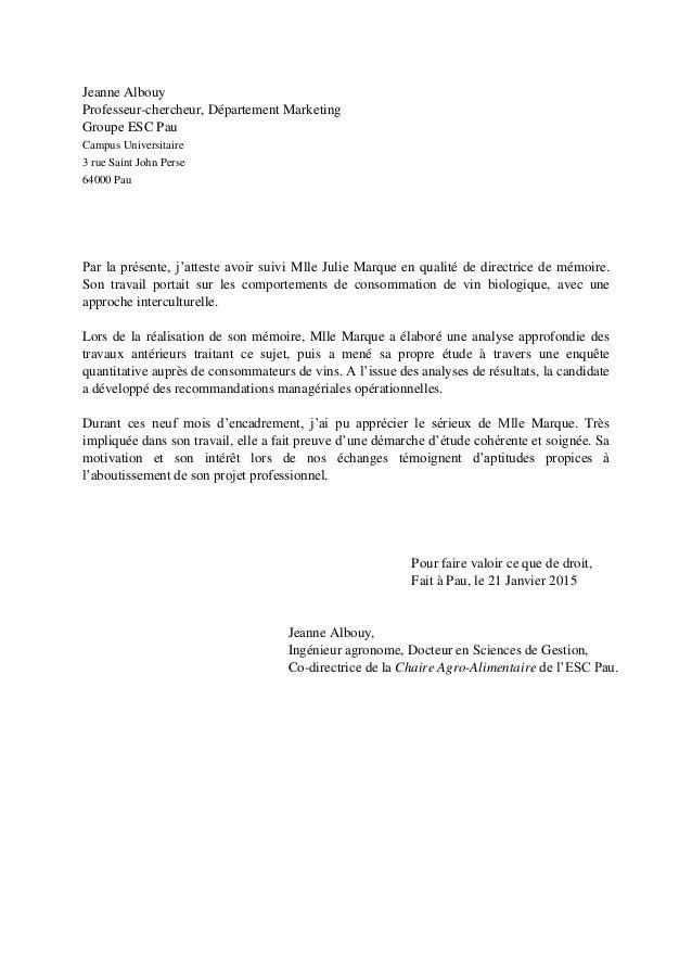 Lettre de recommandation Jeanne ALBOUY