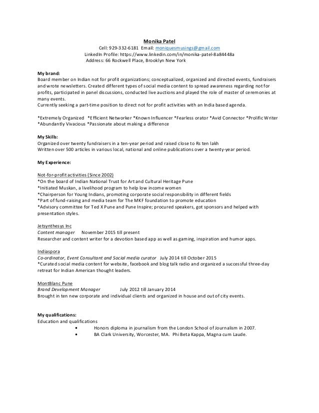 Resume of Monika Patel