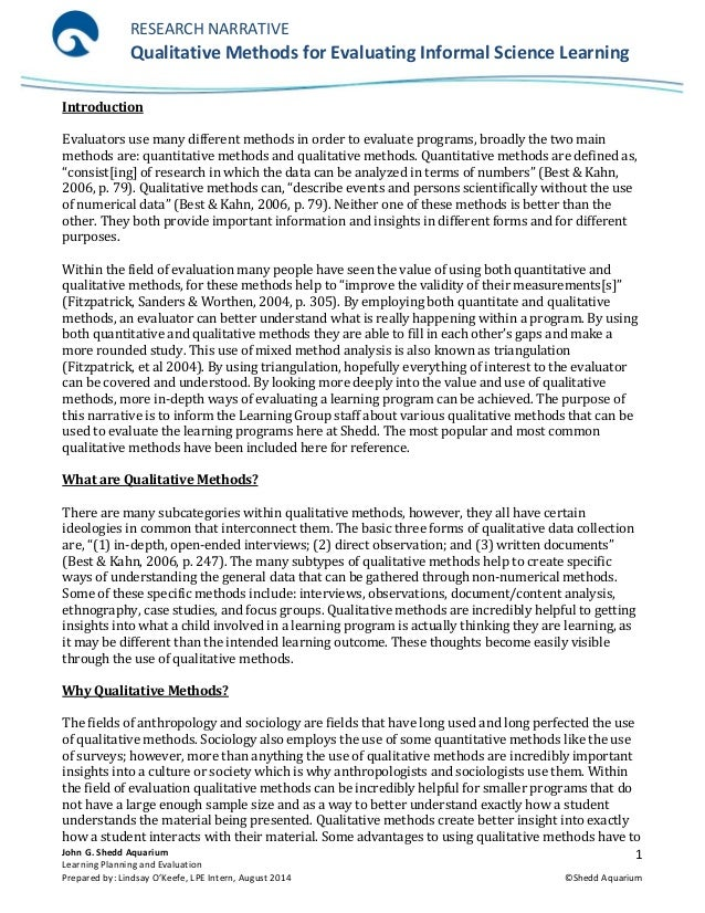 L. O'Keefe Writing Sample - Qualitative Research Narrative