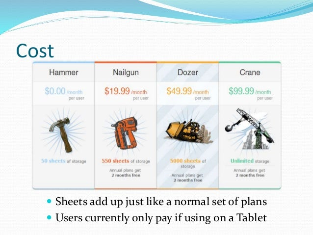 Cost  Sheets add up just like a normal set of plans  Users currently only pay if using on a Tablet