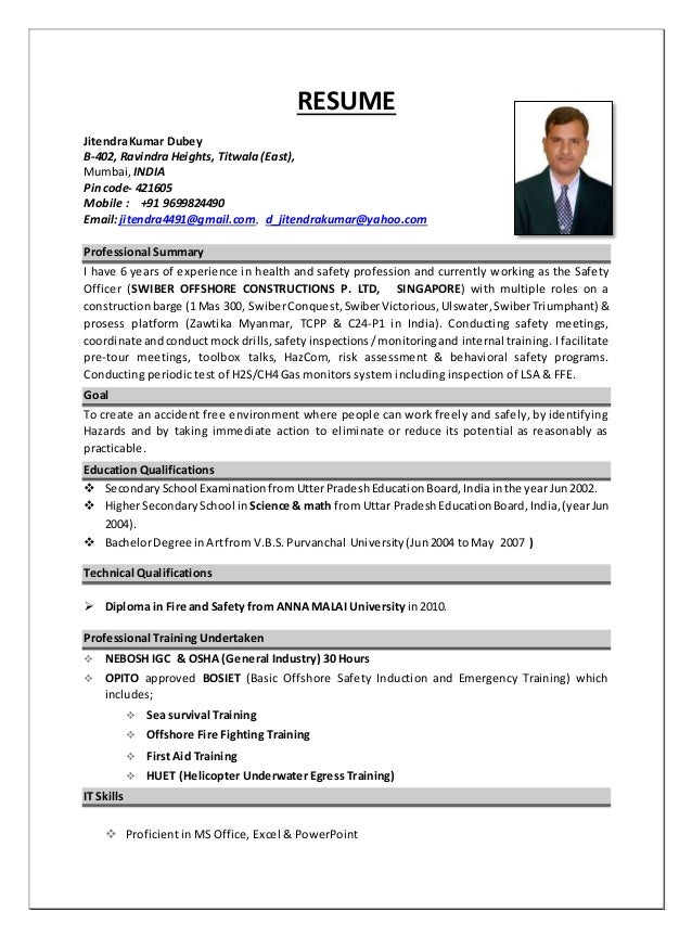 resume hse officer  jitendra dubey