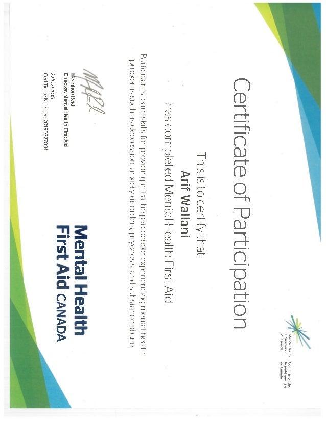 Mental Health First Aid Certificate Arif Wallani