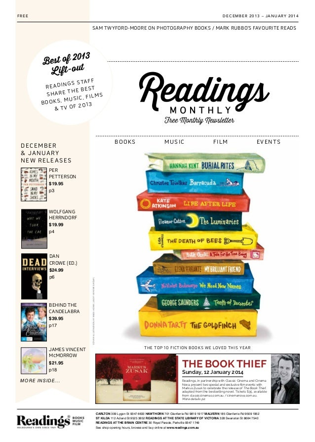 SAM TWYFORD-MOORE ON PHOTOGRAPHY BOOKS / MARK RUBBO'S FAVOURITE READS Sunday, 12 January 2014 THE BOOK THIEF Readings, in ...