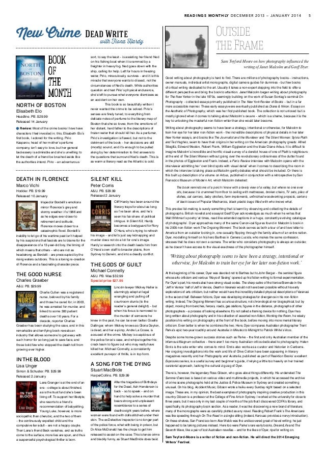 READINGS MONTHLY DECEMBER 2013 – JANUARY 2014 5 DEATH IN FLORENCE Marco Vichi Hodder. PB. $19.99 Released 10 January Inspe...