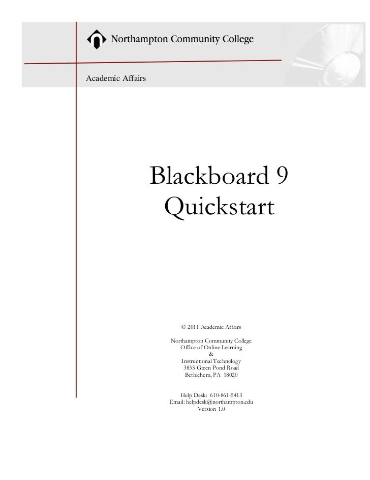 Academic Affairs                   Blackboard 9                    Quickstart                        © 2011 Academic Affai...