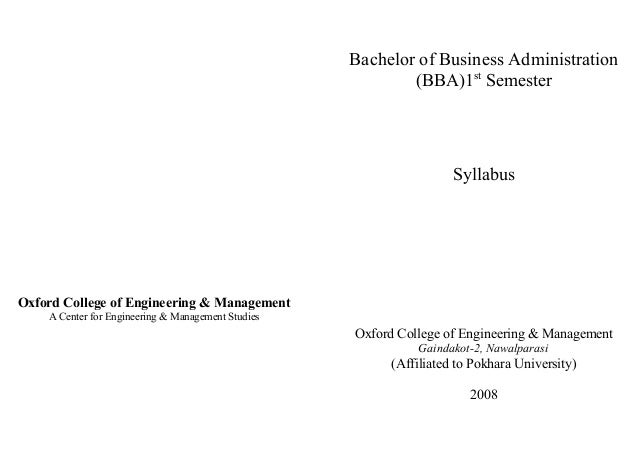 Oxford College of Engineering & Management A Center for Engineering & Management Studies Bachelor of Business Administrati...
