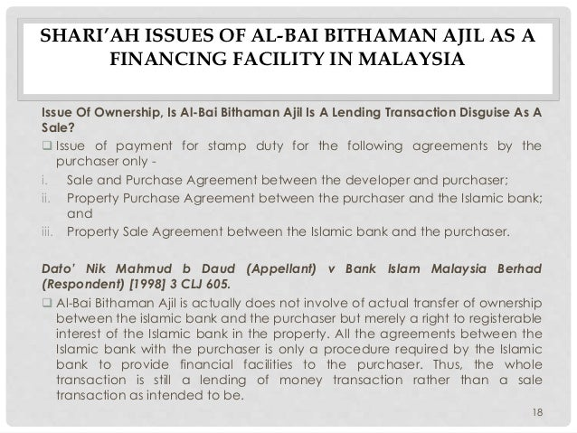 bai bithaman ajil This slide shows the content of bay bithaman ajil (bba) regarding alliance islamic bank general content about housing financing under bba.
