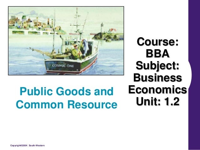 Copyright©2004 South-Western Course: BBA Subject: Business Economics Unit: 1.2 Public Goods and Common Resource
