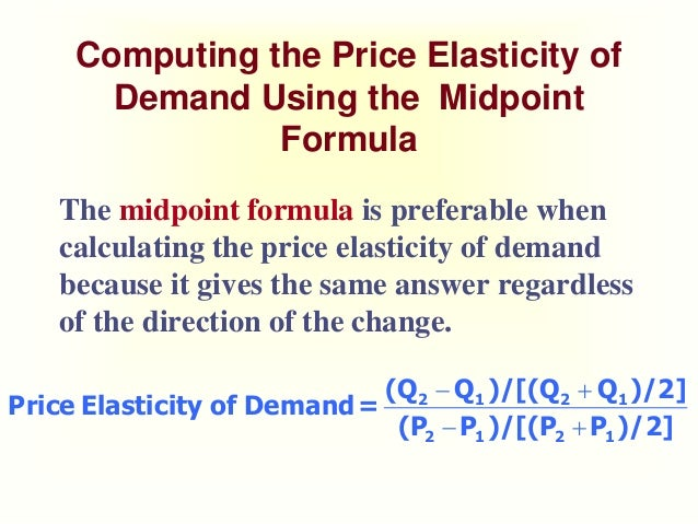 Price Elasticity Of Demand Midpoint Formula Calculator Pregnancy