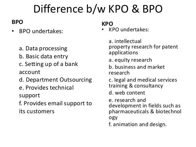 Difference Between BPO and KPO