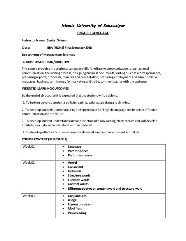 business writing skills course outline