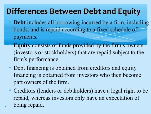 difference between debt and equity financing pdf