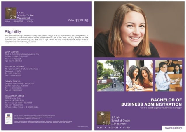 S P Jain School of Global Management Bba 2 page flyer
