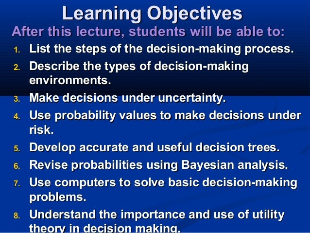 lecture 3 decision analysis Video created by university of pennsylvania for the course decision-making and scenarios this module was designed to introduce you to the many potential criteria for selecting investment.