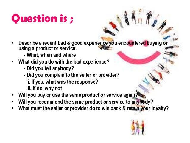 Bba3373 bad and good customer experience