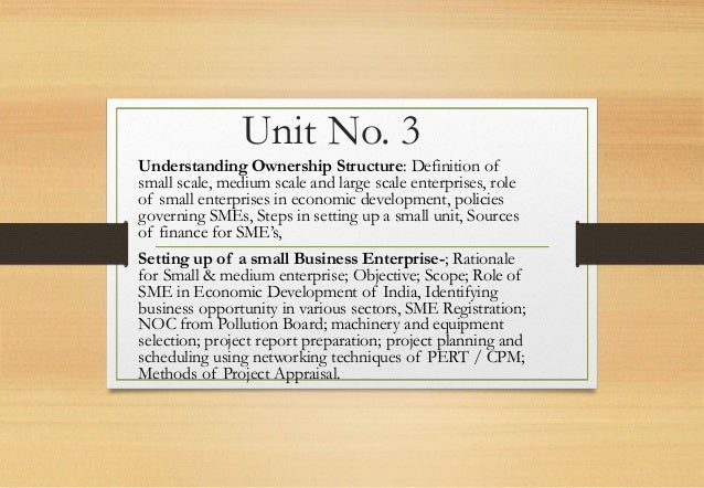 Unit No. 3 Understanding Ownership Structure: Definition of small scale, medium scale and large scale enterprises, role of...