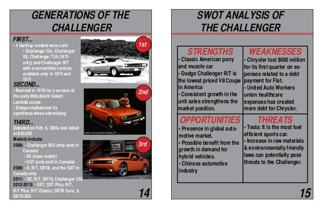 dodge swot Fca designs, engineers and manufactures passenger cars, lcvs, components  and production systems for customers worldwide.
