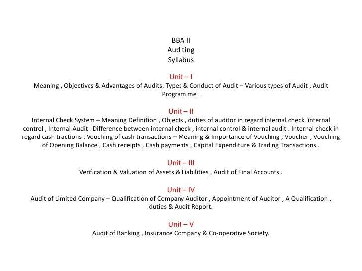 BBA II                                                    Auditing                                                    Syll...
