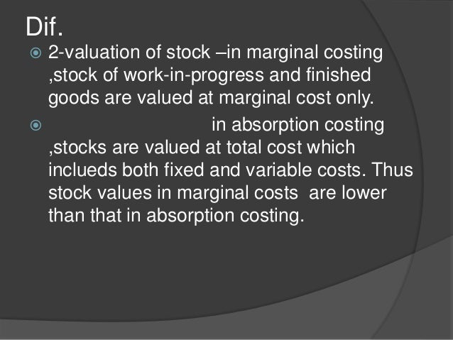 marginal and absorption cost Tweet earlier article dealt with the features and difference between marginal costing and absorption costing method this article seeks to provide the readers with.