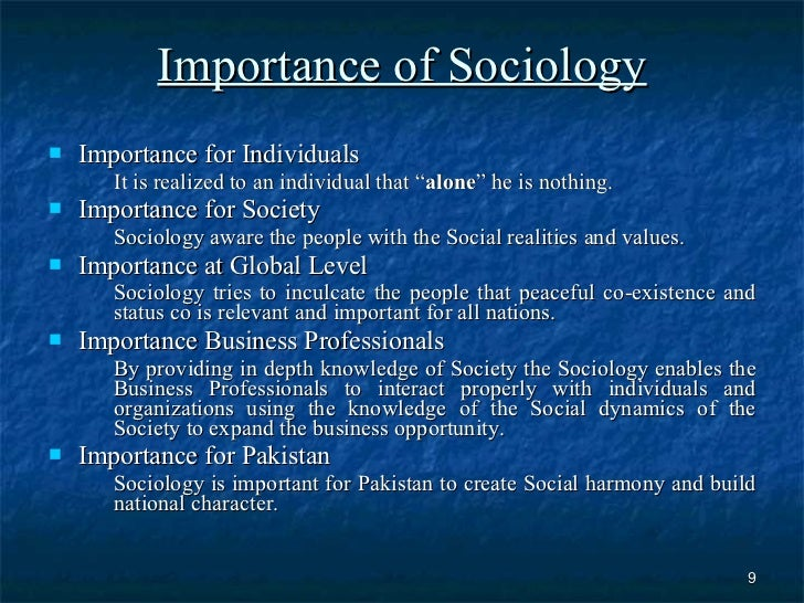 what is the importance of sociology