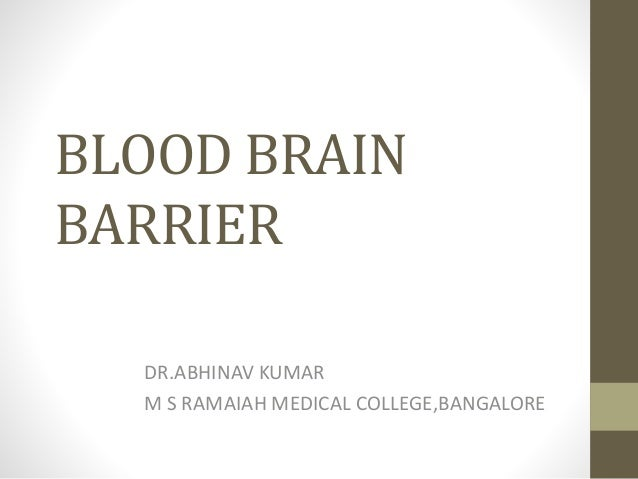 BLOOD BRAIN BARRIER DR.ABHINAV KUMAR M S RAMAIAH MEDICAL COLLEGE,BANGALORE
