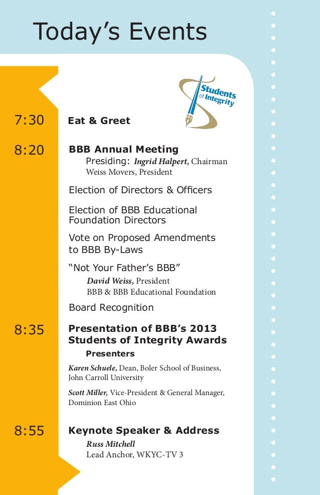 2013 annual meeting and students of integrity award program