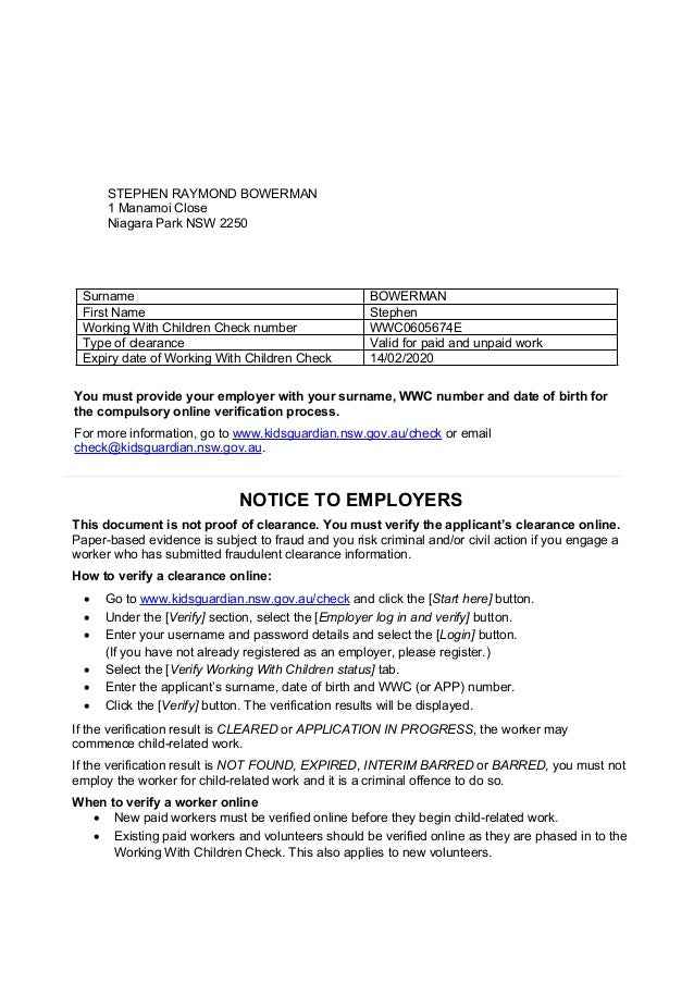 Wwcc Clearance Letter Employee